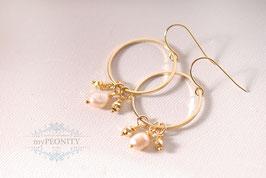 Perlen Kreolen - goldener Pyrit, Ohrringe