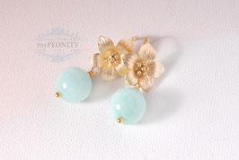 Aqua Jade - Blumen Ohrringe vergoldet