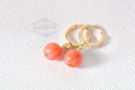Kleine Korallen - mini Kreolen Ohrringe vergoldet