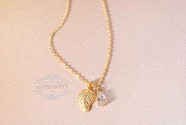Zirkonia - Blatt Anhänger vergoldet, Halskette