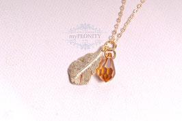 Kristall Tropfen - Feder Anhänger, Halskette