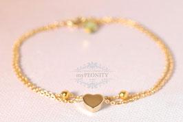 Gold Herz - doppeltes Armkettchen vergoldet