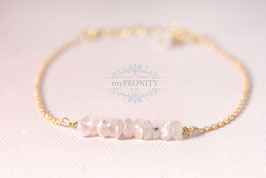 Moonstone - weißer Mondstein, Armband vergoldet