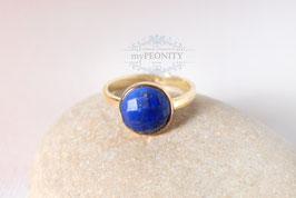 runder Lapislazuli - Ring Sterlingsilber vergoldet