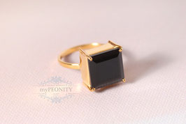 Schwarzer Onyx - großer Ring Silber vergoldet