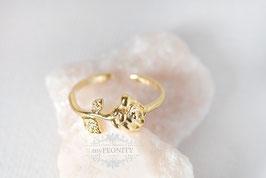 Ring - Rose, vergoldet, offen anpassbar
