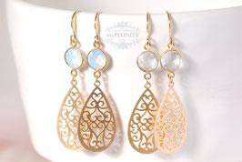 Opalit oder natürlicher Kristall - vergoldete Ohrhänger