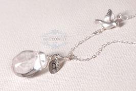 Vogel - Bergkristall, 925 Silber Kette