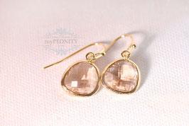 Glasstein Ohrringe - verschiedene Farben, vergoldet