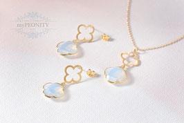 Ohrringe Kleeblätter - Opalit