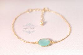 Aqua Chalzedon  - Armband Silber vergoldet
