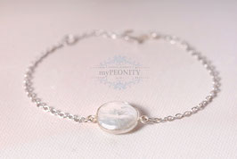 flache Perle -  Coin Armband, Sterlingsilber