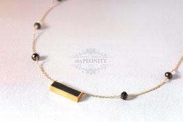 Onyx - Edelstein schwarzer Crystal Halskette