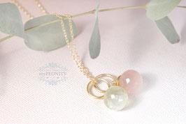 Prehnit und Rosenquarz - Halskette