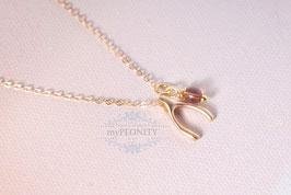 Wishbone - Wünschelrute mit Kristall, Halskette