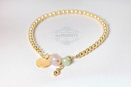 Goldener Pyrit - Armband, Plättchen, Rosenquarz, Kristall