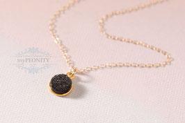 Schwarze Druse klein - zarte Halskette