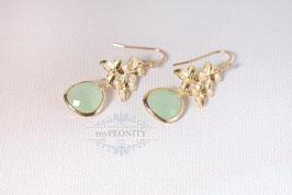 Mint Grüne - Blüten Ohrringe