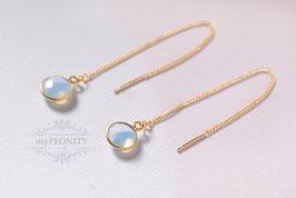 Einfädler - Opalit Ohrringe mit Kettchen