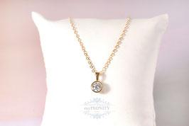 Vergoldeter - Zirkonia Silber Anhänger, Halskette