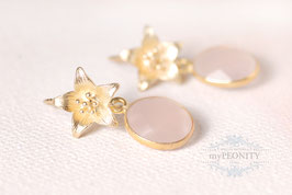 Blumen -  Ohrstecker mit rosa Chalzedon