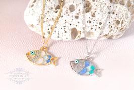 Emaillierte Fische - zarte, lange Halskette