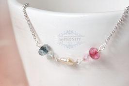 Pastell Kristalle - Sterlingsilber Halskette