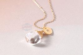 Bergkristall - mit Buchstabe, Halskette