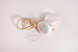 Große Süßwasser Perlen - Coin Ohrhänger