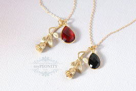 Rose - Granat oder Onyx Tropfen Anhänger, Halskette