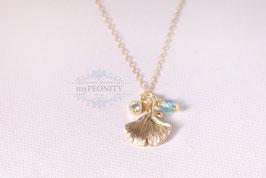 Ginko - Blatt, Zirkonia, gold filled Kette