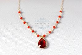 Granat Tropfen Anhänger - mit Rosenkranz Halskette
