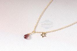 Funkelnder Granat Tropfen - Halskette mit Stern