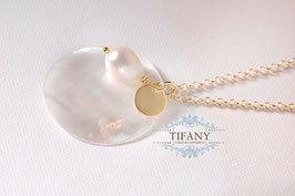 Perlen - Anhänger, vergoldete Kette