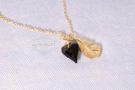 Kristall Herz & Feder - Halskette vergoldet
