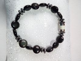 Armband aus Halbedelsteinen Obsidian und Hämatit