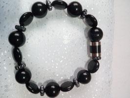 Armband aus Halbedelsteinen :Obsidian und Hämatit