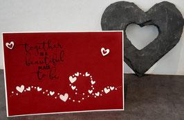 Liebe, rot, weiße Herzkapriolen