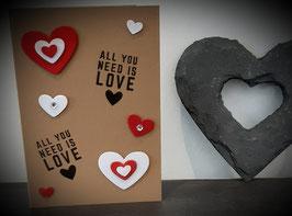 Liebe, braun, Herzen