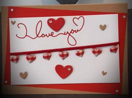 Liebe, karierte Herzen