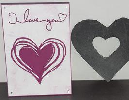 Liebe, weiß, violettes Herz