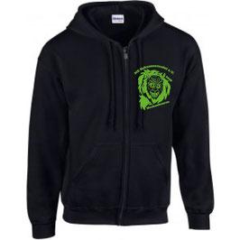 Jacke schwarz, MIT Kapuze und mit Reißverschluß  schwarz inkl. Logo in grün der NZ Schussenteufel e. V.