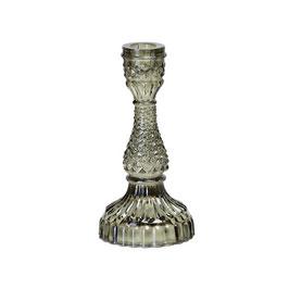 Kerzenleuchter oliv-grün Pressglas