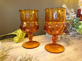 Indiana Glass Crown Goblet Amber 【Mar-1321】