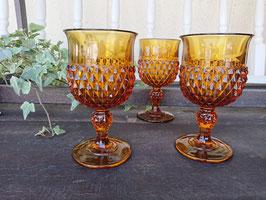 Indiana Glass Diamond Point  Amber  【MAR-1828】