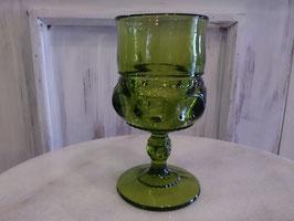 Vintage キングスクラウン ワイングラス オリーブグリーン  【MAR-0118】