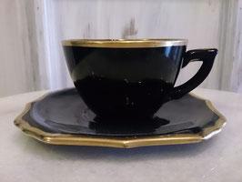 Vintage ブラック×ゴールド ティーカップ  【MAR-0131】