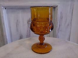 Vintage キングスクラウン ワイングラス アンバー  【MAR-0117】