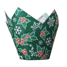 Caissettes tulipes de Noël vertes avec houx.