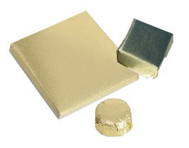 Feuilles d'emballage or paraffiné 10x10 cm